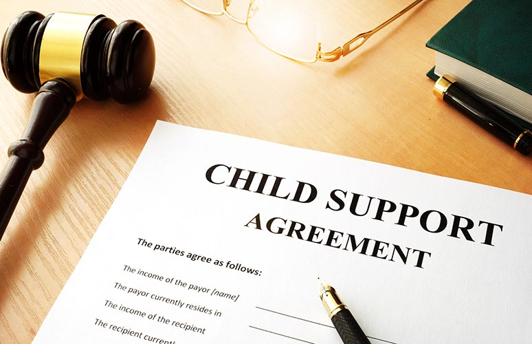 Photo of a child support agreement document.